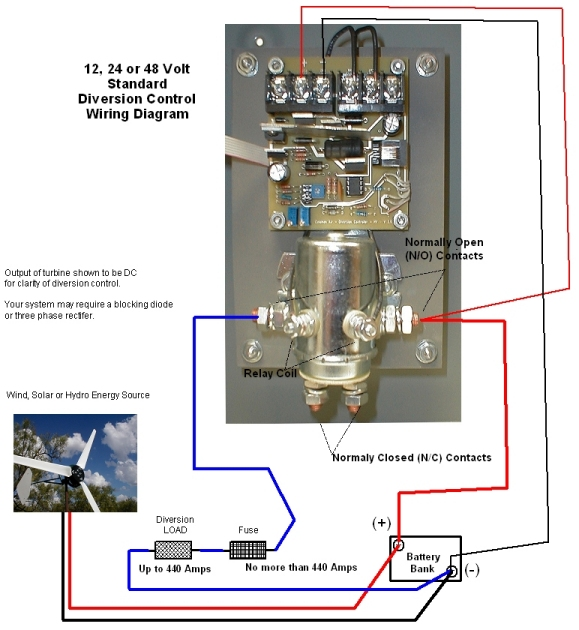 DLC_StandardHookupDrawing440HVM_Medium coleman air 440 a amp 12v 24v 48v solar wind hydro regulator wind turbine charge controller wiring diagram at fashall.co